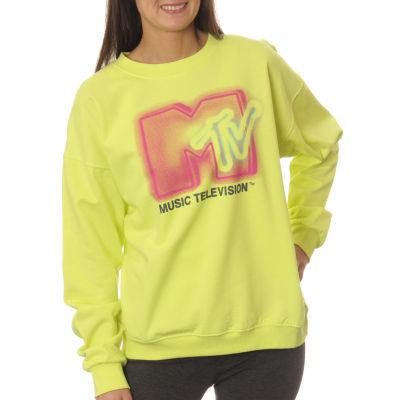 MTV Juniors' Graffiti Logo Neon Crewneck Graphic Sweatshirt