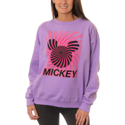 Mickey Mouse Juniors' Spiral Silhouette Ears Neon Crewneck Graphic Sweatshirt
