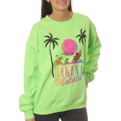 "Lion King Juniors' ""Hakuna Matata"" Character Line-Up Neon Crewneck Graphic Sweatshirt"