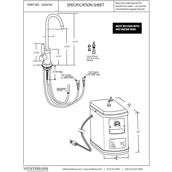 Premium Contemporary 9 in. Hot Water Dispenser and Tank Westbrass D2041H