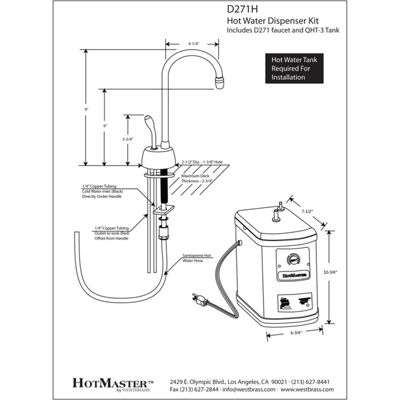 Westbrass D271H Velosah Contemporary 9 in. Hot Water Dispenser and Tank
