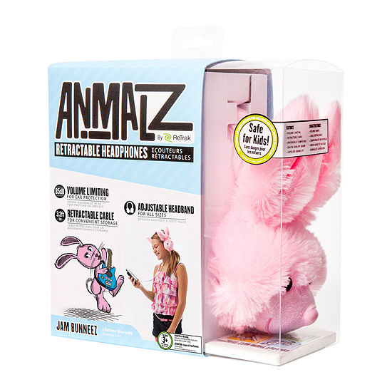 ReTrak Animalz Retractable Bunny Headphones