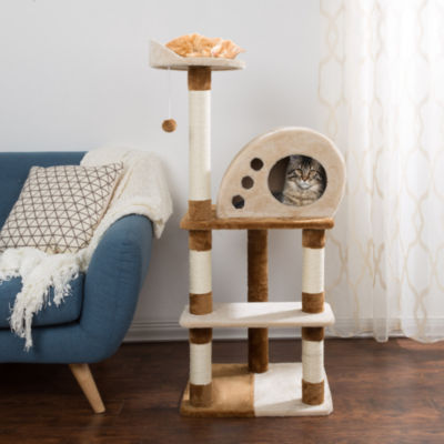 Petmaker 4-Tier Cat Tree with Cat Condo and Hanging Toy