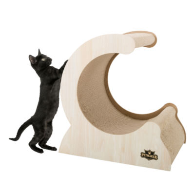 Petmaker Cat Scratching Post with Wood and Cardboard Incline Vertical Scratch Station