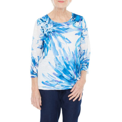 Alfred Dunner Out And About 3/4 Sleeve Crew Neck Floral T-Shirt-Womens Petites