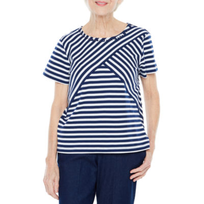 Alfred Dunner Out And About Short Sleeve Crew Neck Stripe T-Shirt-Womens Petite