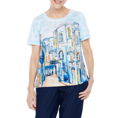 Alfred Dunner Out And About Short Sleeve Crew Neck T-Shirt-Womens Petite