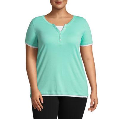St. John's Bay Active® Short Sleeve Two-Fer Tee - Plus