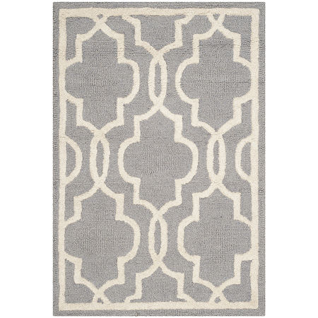 Safavieh Chester Quatrefoil Wool Area Rug. One Size . Silver