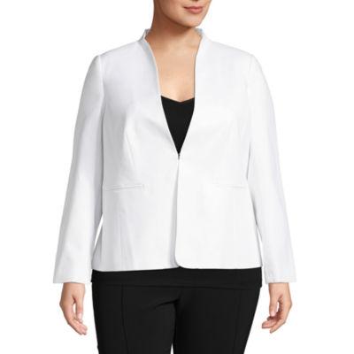 Liz Claiborne Long Sleeve Collarless Suiting Jacket- Plus