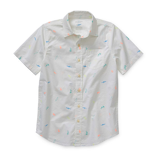 Arizona Little Kid / Big Kid Boys Short Sleeve Button-Front Shirt