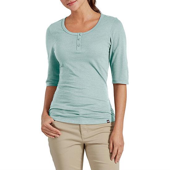 Dickies Womens Henley Neck Elbow Sleeve Henley Shirt