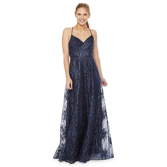 City Triangle Sleeveless Embellished Embroidered Tonal A-Line Dress-Juniors