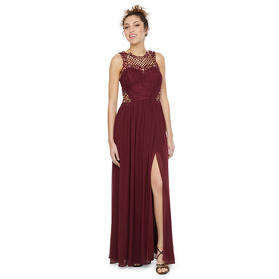 City Triangle Sleeveless Applique Embellished A-Line Dress-Juniors
