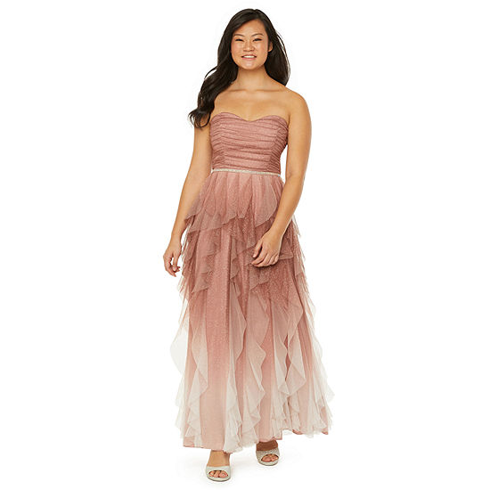 Social Code Strapless Embellished Ball Gown-Juniors