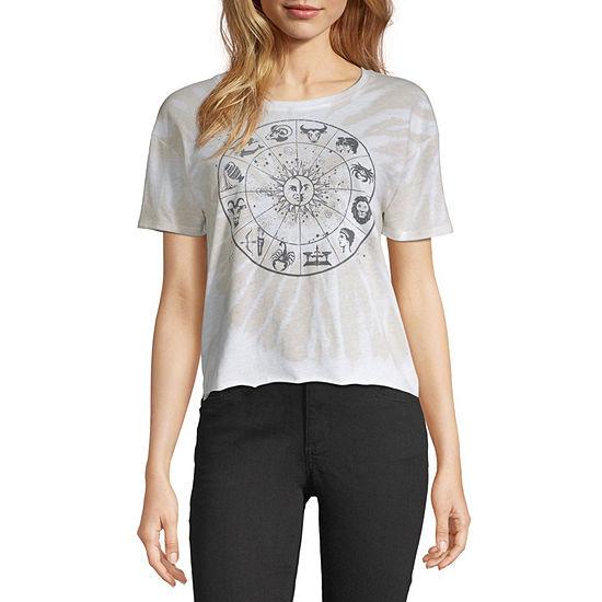 Juniors Celestial Womens Round Neck Short Sleeve Graphic T-Shirt