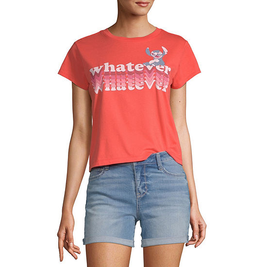 Disney Collection-Juniors Lilo & Stitch Womens Crew Neck Short Sleeve Graphic T-Shirt