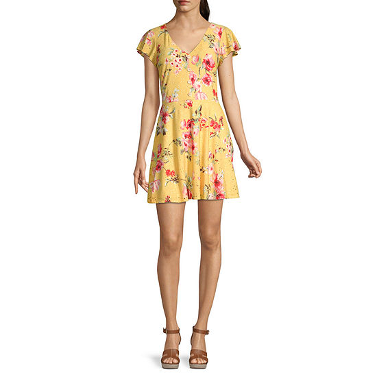 Byer California-Juniors Short Sleeve Floral Fit & Flare Dress