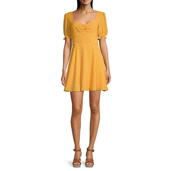 B. Darlin-Juniors Short Sleeve Dots Fit & Flare Dress