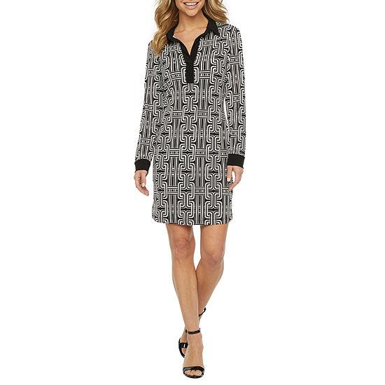 Tiana B Long Sleeve Geometric Shift Dress
