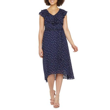 500 Vintage Style Dresses for Sale | Vintage Inspired Dresses Ronni Nicole Short Sleeve Dots Fit  Flare Dress 18  Blue $26.24 AT vintagedancer.com