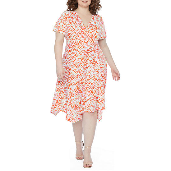 Perceptions-Plus Short Sleeve Dots Fit & Flare Dress