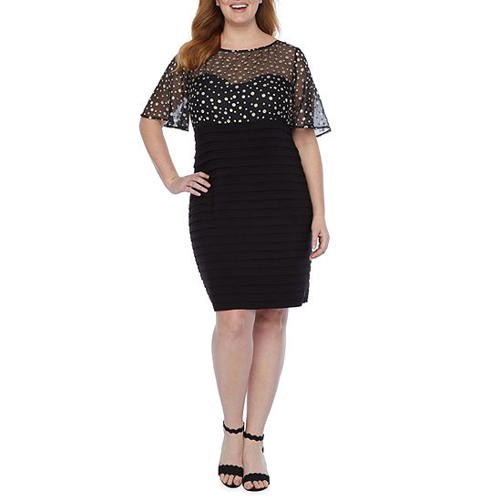 Scarlett-Plus Short Flutter Sleeve Dots Sheath Dress