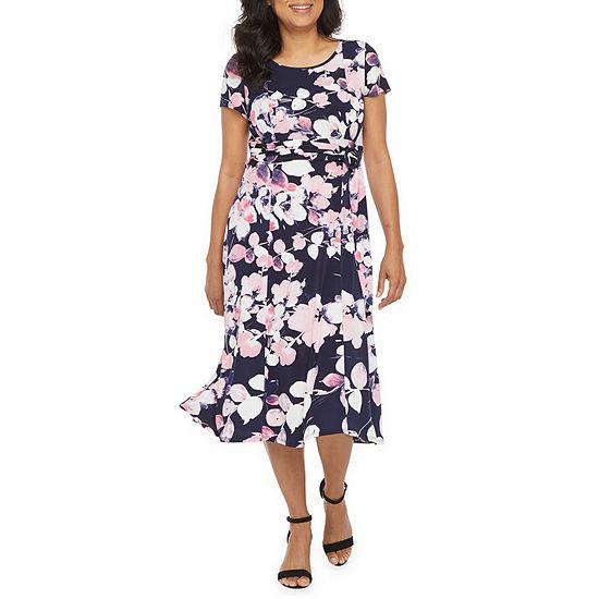 Perceptions Short Sleeve Floral Puff Print Fit & Flare Dress - Petite