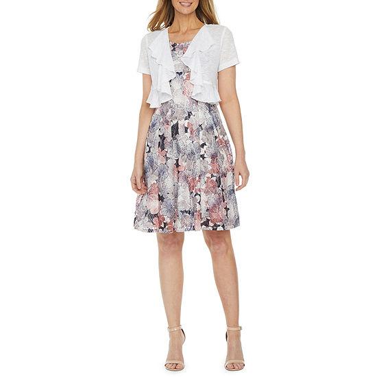 Perceptions-Petite Short Sleeve Floral Lace Jacket Dress