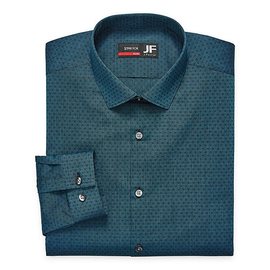 JF J.Ferrar Mens Spread Collar Long Sleeve Stretch Dress Shirt