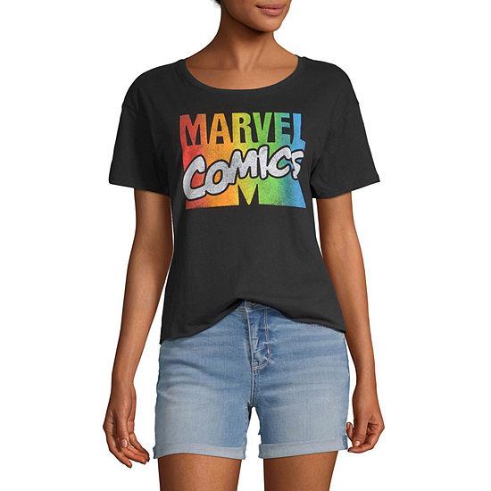 Juniors-Womens Round Neck Short Sleeve T-Shirt