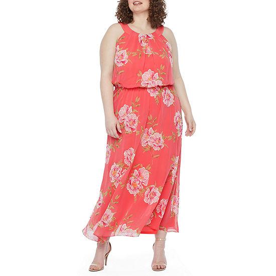 Robbie Bee-Plus Sleeveless Floral Puff Print Maxi Dress