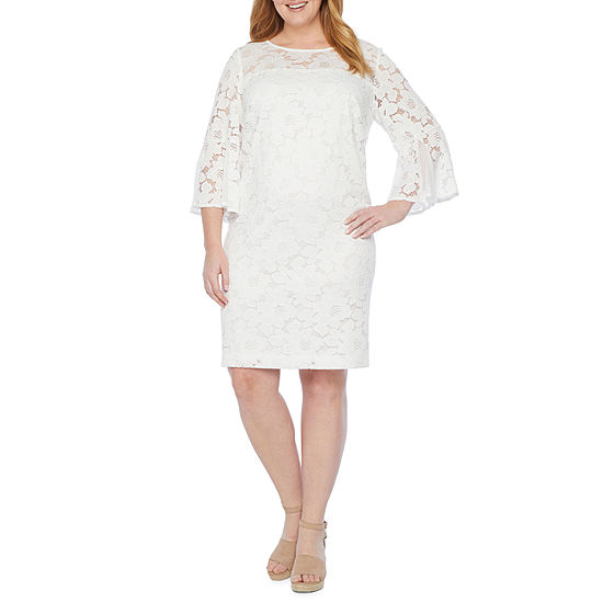 Studio 1-Plus 3/4 Bell Sleeve Lace Shift Dress