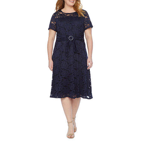 1930s Plus Size Dresses | Art Deco Plus Size Dresses Perceptions Short Sleeve Floral Lace Fit  Flare Dress - Plus 1x  Blue $33.74 AT vintagedancer.com