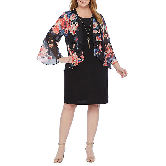 Tiana B-Plus 3/4 Bell Sleeve Faux Jacket Dress with Necklace