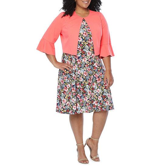 Perceptions-Plus 3/4 Bell Sleeve Jacket Dress