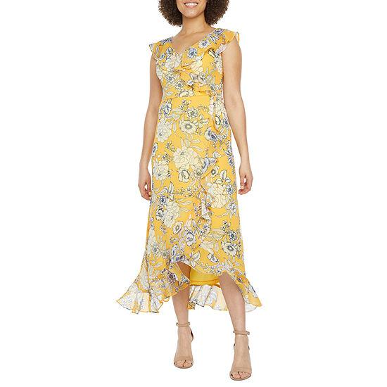 London Style-Petite Short Sleeve Floral Maxi Dress