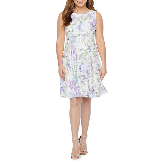 Studio 1 Sleeveless Floral Lace Fit & Flare Dress - Petite