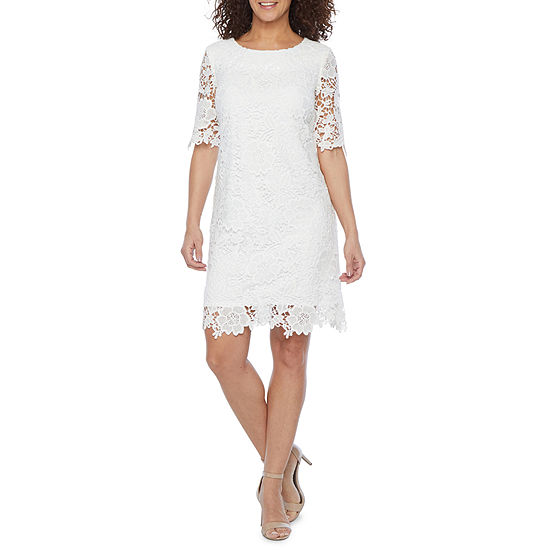 Studio 1-Petite 3/4 Sleeve Floral Lace Sheath Dress