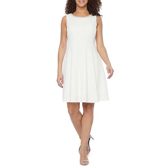 Studio 1-Petite Sleeveless Embellished Fit & Flare Dress