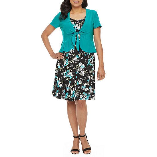 Perceptions Short Sleeve Floral Print Jacket Dress - Petite