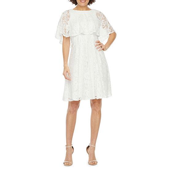 J Taylor Short Sleeve Floral Lace Cape Fit & Flare Dress