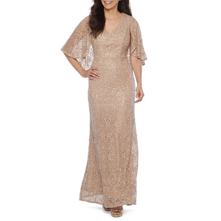 Vintage Evening Dresses and Formal Evening Gowns Blu Sage Short Sleeve Sequin Lace Evening Gown 10  Beige $62.99 AT vintagedancer.com
