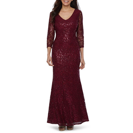 1930s Evening Dresses | Old Hollywood Silver Screen Dresses Blu Sage 34 Sleeve Sequin Lace Evening Gown $52.49 AT vintagedancer.com