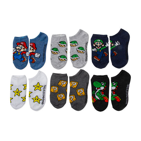 Little & Big Boys 6 Pair Super Mario No Show Socks