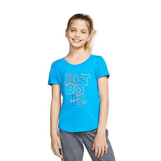 Nike Graphic Tee Big Girls Crew Neck Short Sleeve Graphic T-Shirt