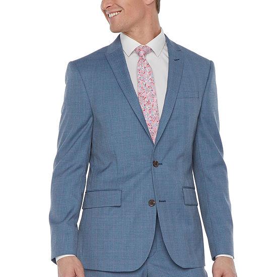 JF J.Ferrar-Slim Ultra Comfort Plaid Slim Fit Stretch Suit Jacket