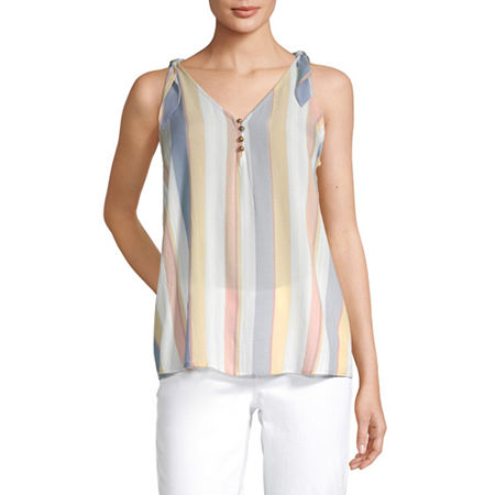 a.n.a Womens V Neck Sleeveless Tank Top, X-small , Multiple Colors