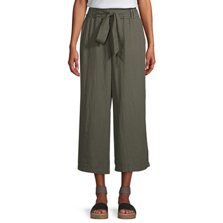 a.n.a Mid Rise Belted Cropped Pants, X-small , Green