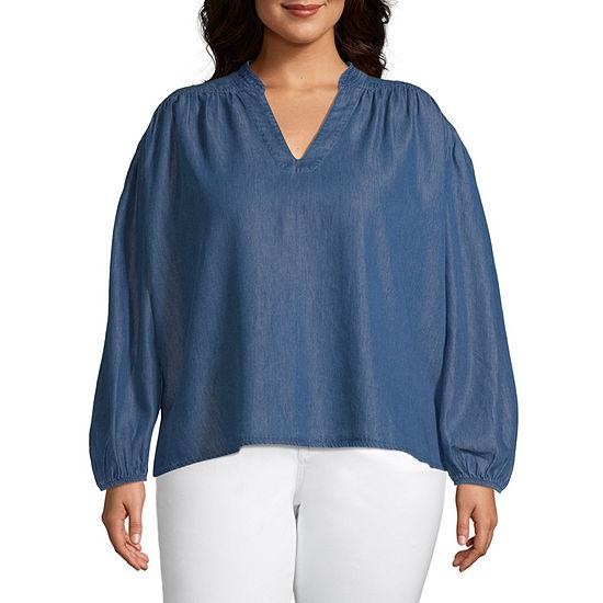a.n.a-Plus Womens V Neck Long Sleeve Blouse
